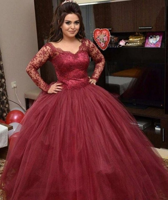 Wine Red Wedding Dresses Long Sleeves Lace Princess Organza Wedding Dresses Bridal