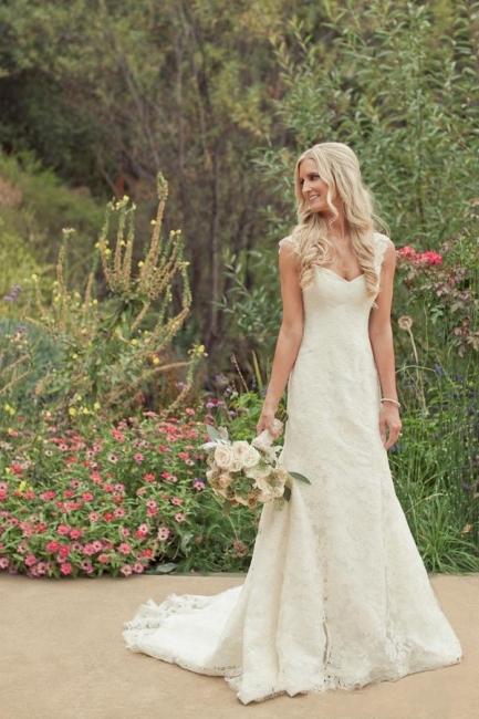 Elfenbein Brautkleider Spitze Meerjungfrau Herz Träger Brautmoden Hochzeitskleider