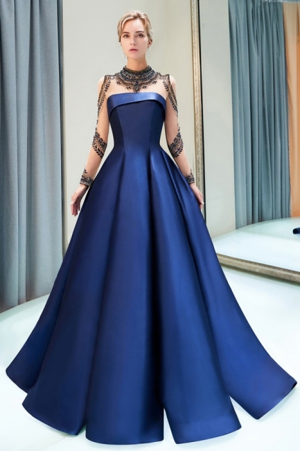 Fashion Evening Dress Blue Long Beaded A Line Evening Dresses Evening Wear Online