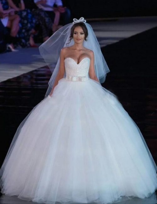 Modern Wedding Dresses White Princess Tulle Bridal Gowns Cheap