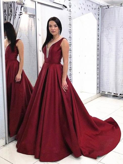 Evening dresses long Bordeaux | Simple evening dress wine red