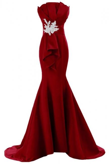 Rotes Abendkleider Lang Meerjungfrau Trägerlos Satin Abiballkleider Online