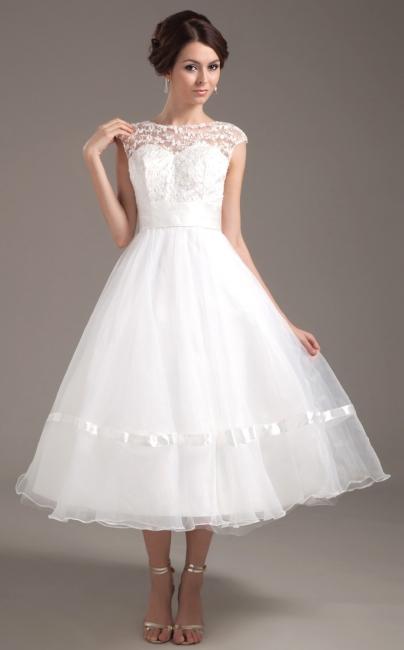 Elegant Short Wedding Dresses With Pointed A Line Organza Tea-length Wedding Dress Wedding Fashions