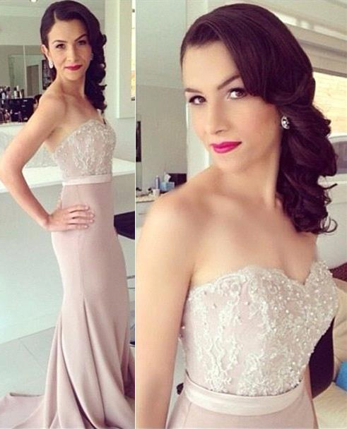 Pink Evening Dresses Long Cheap Lace Mermaid Chiffon Evening Wear