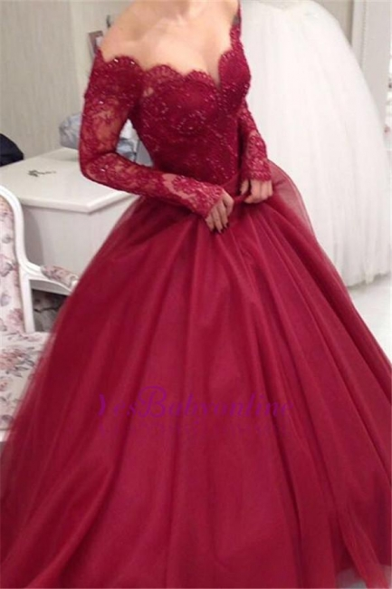 Weinrot Brautkleider Mit Ärmel Spitze Tüll Prinzessin Brautmoden Hochzeitskleider