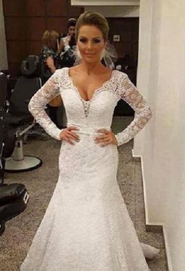 Weiß Brautkleider Lang Ärmel Spitze Meerjungfrau V Ausschnitt Hochzeitskleider Günstig
