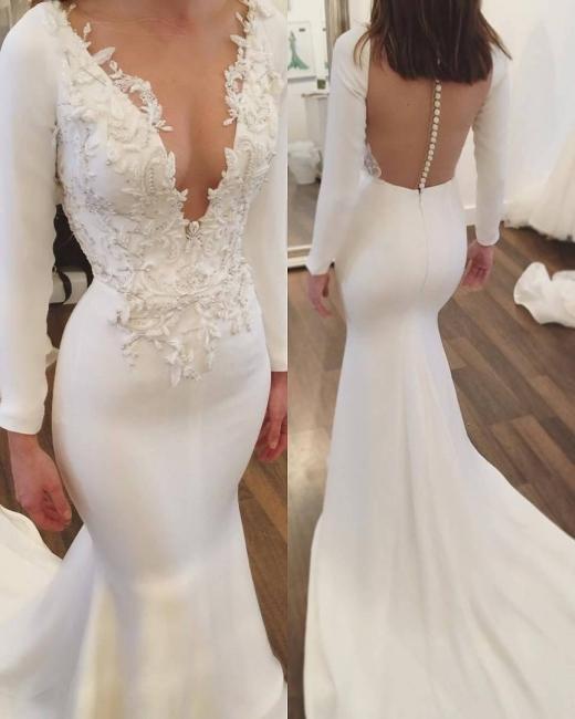 Simple White Wedding Dresses Long Sleeves Mermaid Lace Bridal Wedding Gowns