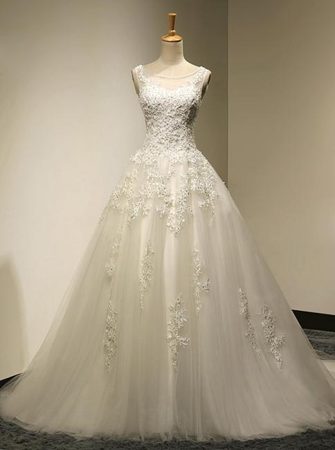 Elegante Weiße Spitze Hochzeitskleider A Line Brautkleider Günstig Online