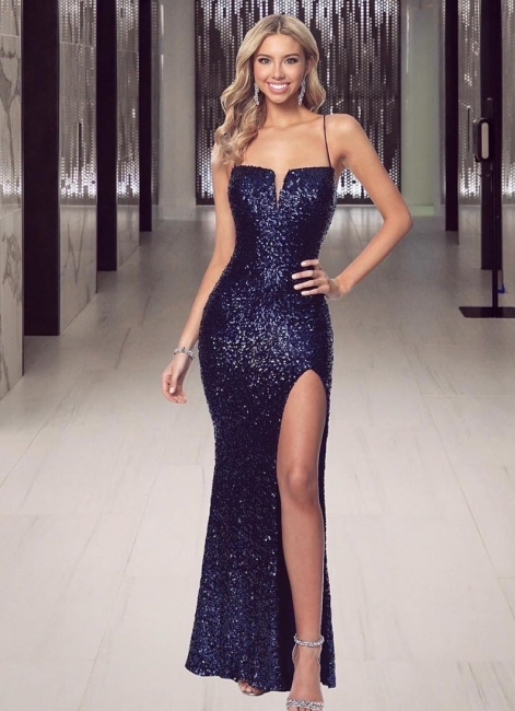 Navy Blue Prom Dresses Long Glitter | Evening wear cheap online