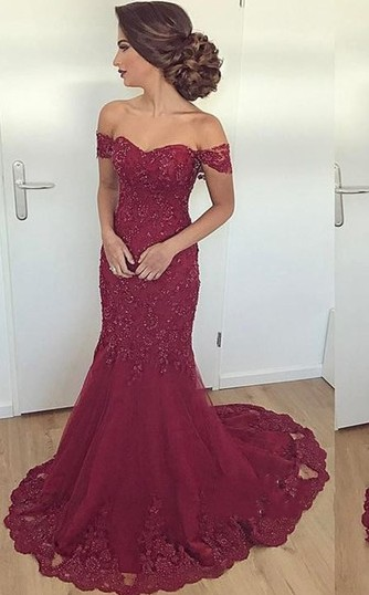 Cheap Evening Dresses Long Lace Wine Red Mermaid Evening Wear Prom Dresses