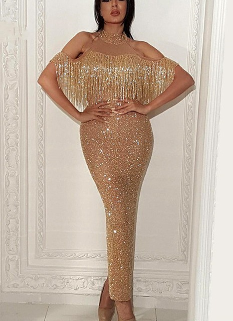 Elegant Evening Dress Gold Long Sequin Prom Dresses Prom Dresses Online