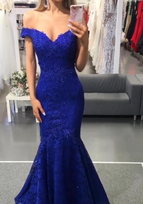 Abendkleider Lang Spitze | Blaue Abendmoden Günstig Online