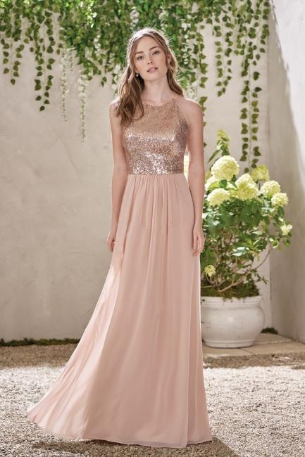 Elegante Brautjungfernkleider Lang Günstig Etuiline Chiffon Kleider Brautjungfern