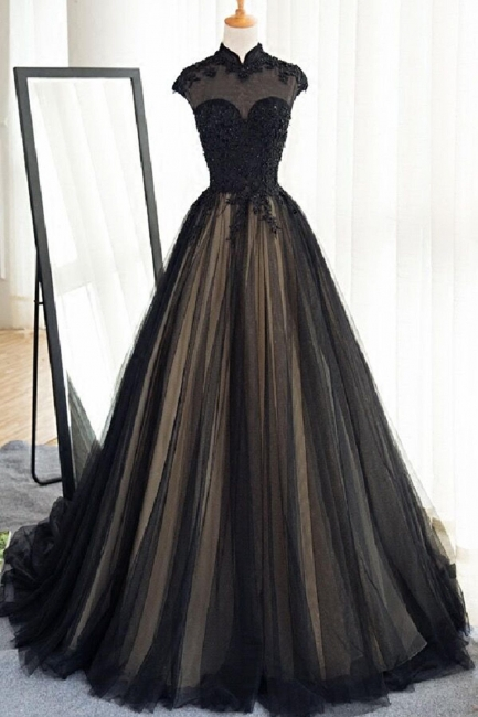 Elegant Evening Dresses Lace Cheap A Line Tulle Black Ball Gown Long