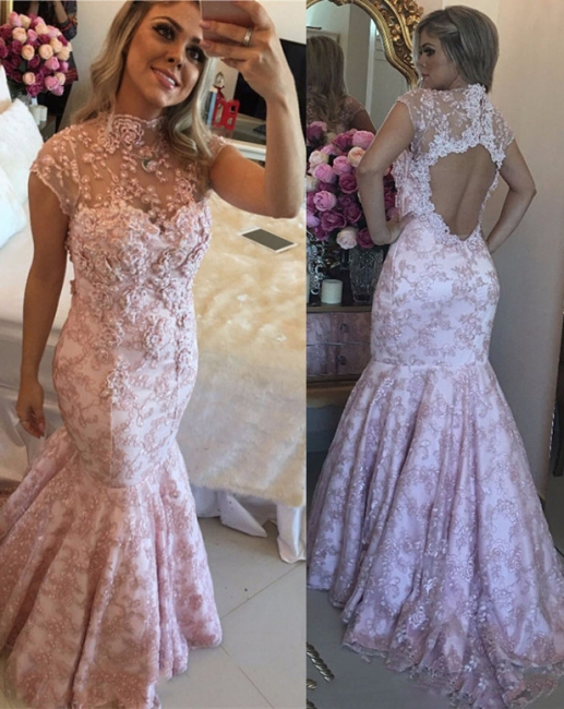 Beautiful evening dresses long pink mermaid evening wear lace cheap online
