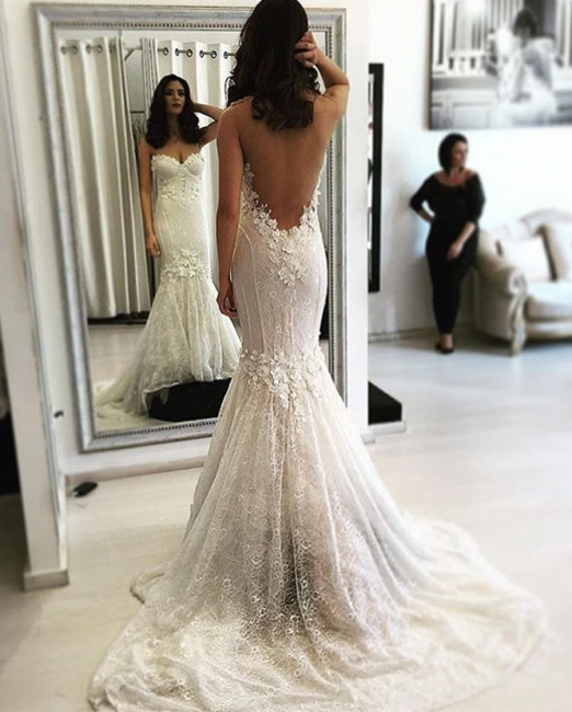 Wedding Dresses White With Lace Mermaid Back Woman Wedding Dresses Bridal