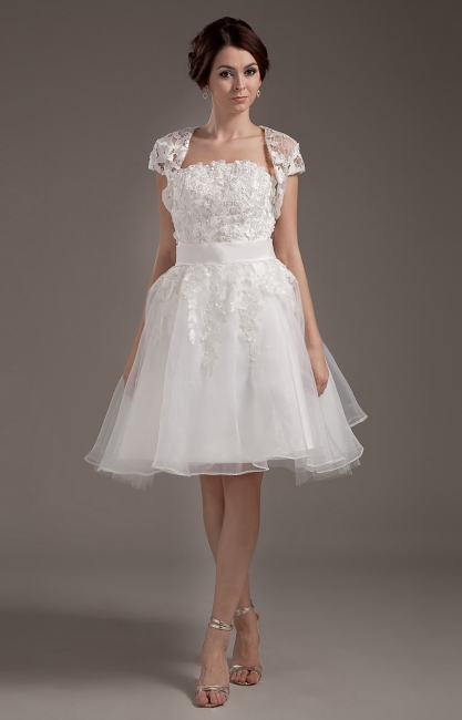 White Wedding Dresses With Jacket Lace A Line Wedding Dresses Bridal Fashion Cheap