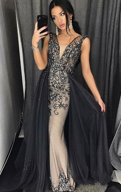 Luxus Abendkleider lang Schwarz | Abiballkleider Glitzer Online