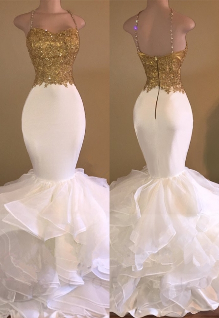 White evening dresses long with golden lace prom dresses cheap online