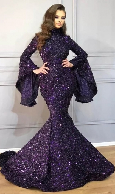 Luxury long glitter prom dresses | Evening dresses with sleeves