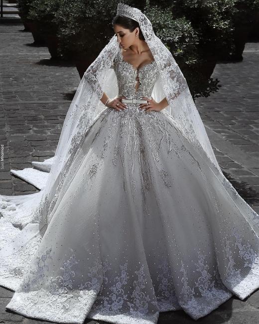 Luxus Brautkleid A Linie   Hochzeitkleider Spitze Mit Perlen