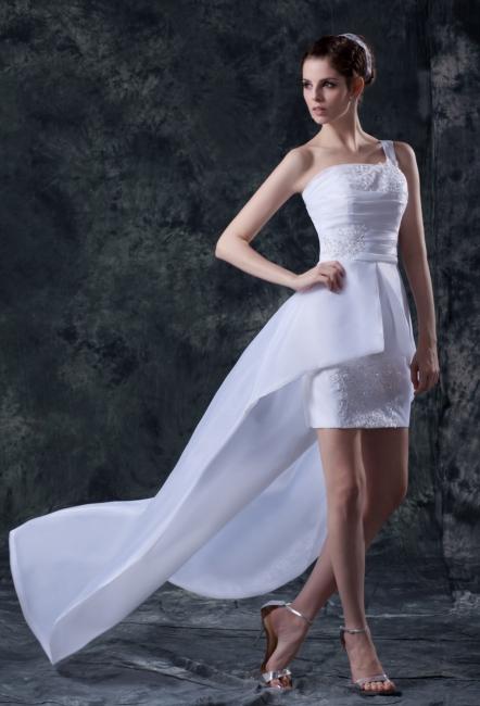 Elehante Weiß Brautkleider Kurz Mit Spitze Organza Hochzeitskleider Brautmoden