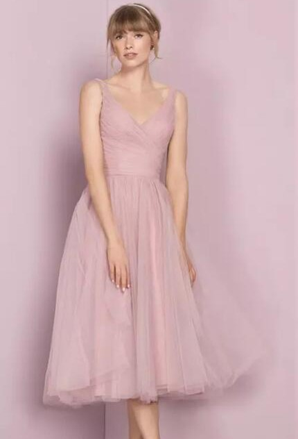 Fashion Bridesmaid Dresses Short Pink A Line Dresses Wedding Bridesmaid