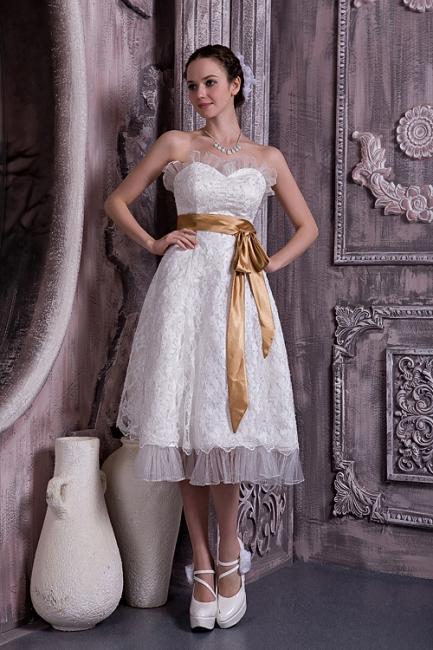 Brautkleider Kurz Weiß Spitze Mit Schleife Etuikleider Knielang Hochzeitsmoden