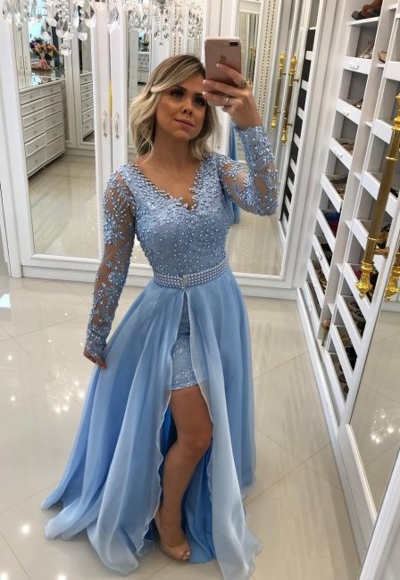 Chic evening dresses with sleeves beaded evening dress long blue lace
