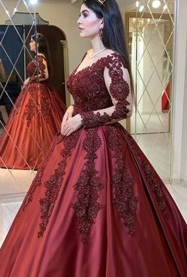 Wine red evening dresses with sleeves | Princess evening wear with lace
