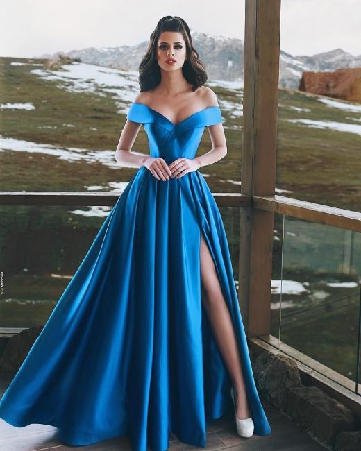 Royal Blaue Abendkleider Lang Günstig A Linie Abiballkleider Abendmoden Online