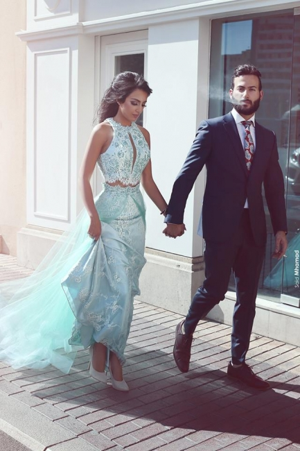 Green Evening Dresses Long Evening Dress Two Piece Lace Prom Dresses Cheap Online