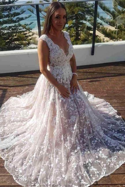 Schlichte Weiße Hochzeitskleider Spitze Tüll A Linie Brautkleider Online