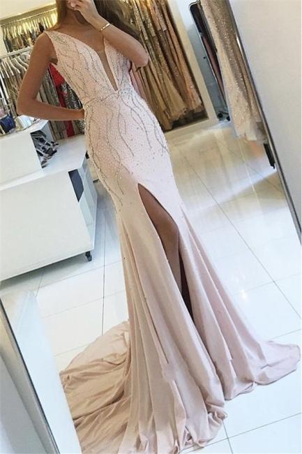 Günstige Abiballkleider Lang Günstig V Ausschnitt Perlen Meerjungfrau Chiffon Abendkleider Online