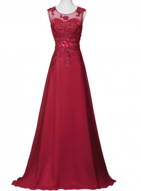 Elegant Evening Dresses Long Wine Red Chiffon A Line Prom Dresses Party Dresses
