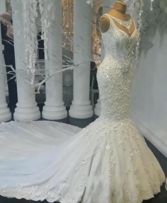 Modern Weiße Brautkleider Spitze Meerjungfrau Hochzeitskleider Bodenlang Günstig
