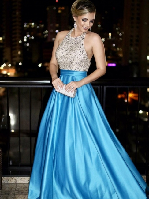 Elegant Evening Dresses Long Light Blue Beaded Evening Wear Prom Dresses