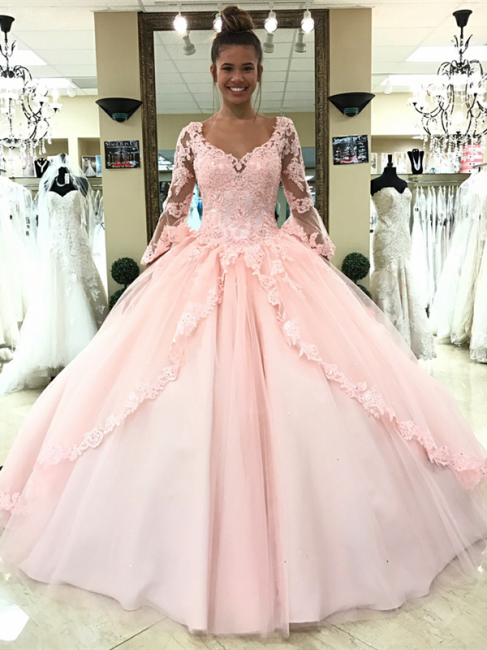 Luxury pink wedding dresses with sleeves lace princess wedding dresses cheap online