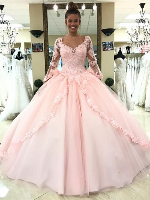Luxury Rosa Hochzeitskleider Mit Ärmel Spitze Prinzessin Hochzeitskleider Günstig Online