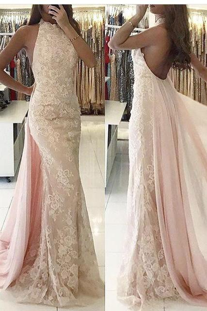 Beautiful evening dresses long cheap lace pink mermaid prom dresses online