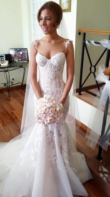 Weiß Brautkleider Spitze Spaghetti Träger Schleppe Hochzeitskleider Brautmoden