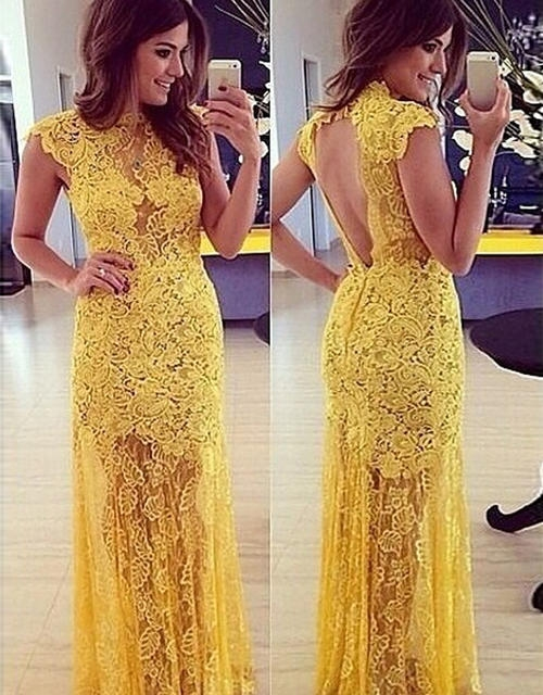 Yellow Long Prom Dresses Evening Dresses Lace Mermaid Floor Length Prom Dresses