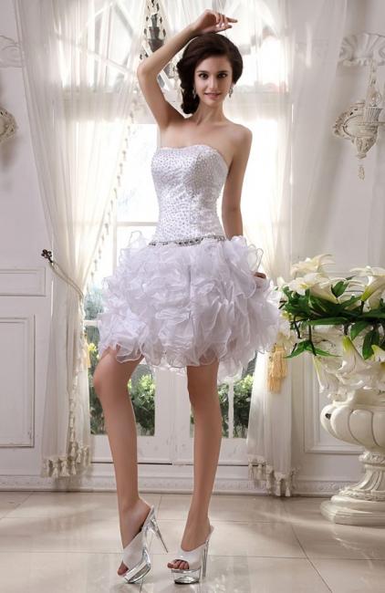 Günstig Kurze Hochzeitskleider Weiß Organza Brautkleider Mini Hochzeitsmoden