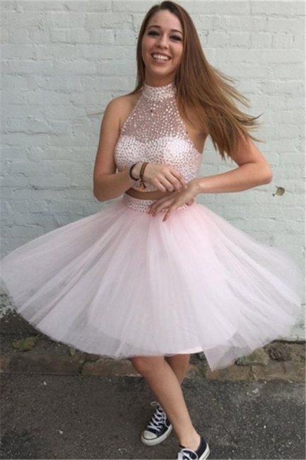 Pink 2 Dividers Cocktail Dresses Prom Dresses Short Beaded Tulle Evening Gowns Online