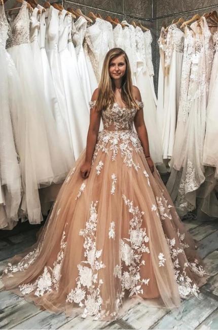 Champagne Brautkleider A Linie | Günstige Hochzeitskleider mit Spitze