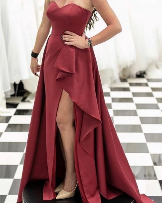 Elegante Abendkleider Lang Günstig | Rotes Abendkleid Online