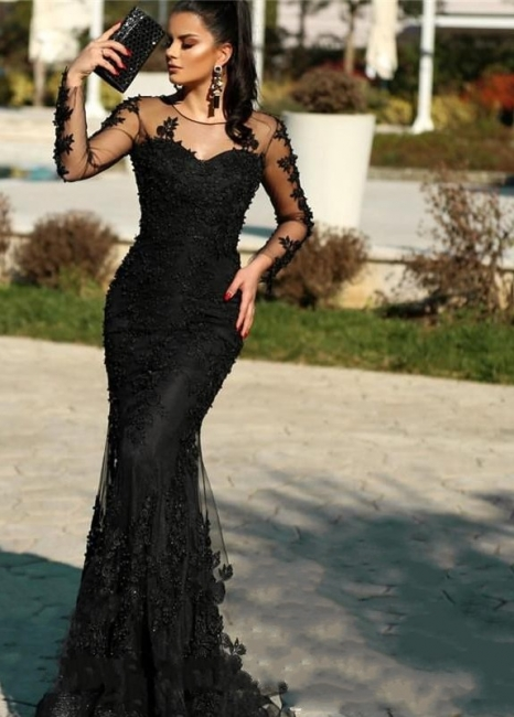 Elegant Evening Dresses Long Black | Lace prom dresses with sleeves