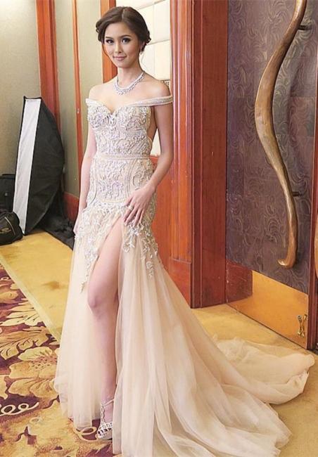 Beautiful Cheap Evening Dresses Long Lace Mermaid Evening Wear Prom Dresses