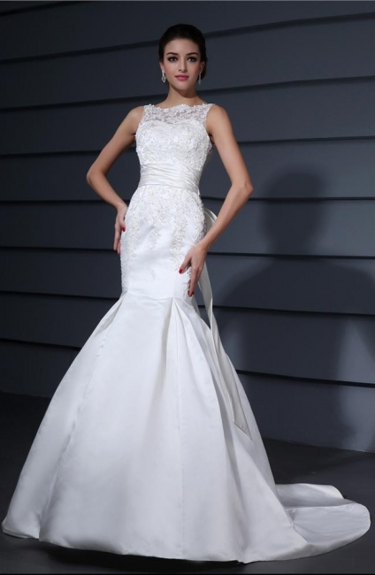 White wedding dresses with lace satin mermaid wedding dresses with train