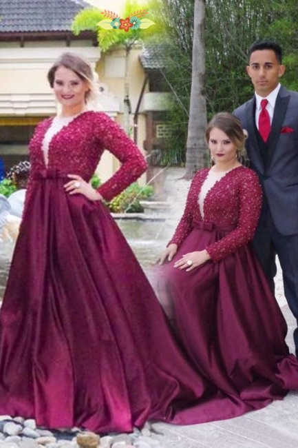 Wine Red Evening Dresses Large Size Long Sleeves A-Line Oversized Evening Dresses Prom Dresses